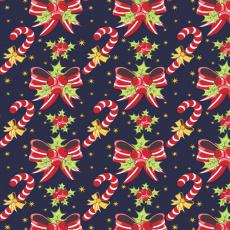 Świąteczna tkanina bawełniana wzór Lollipop na granatowym tle