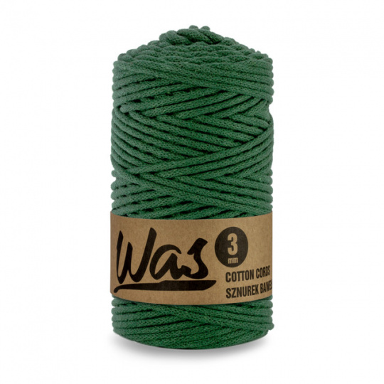 Sznurek bawełniany 3mm, 100m Butelkowa zieleń