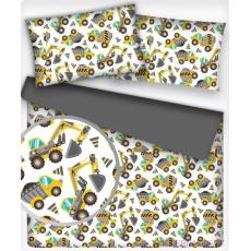 Tkanina bawełniana wzór Maszyny budowlane szary