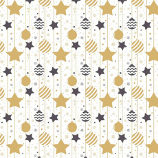 Tkanina bawełniana wzór bombki świąteczne z beżowymi gwiazdami