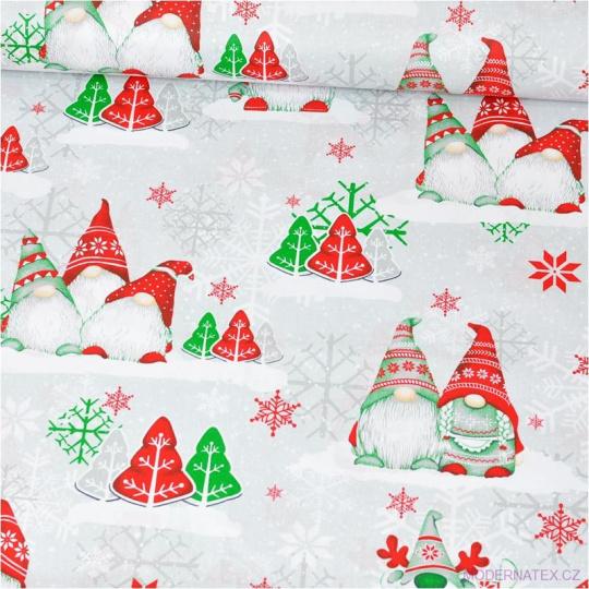 Tkanina bawełniana świąteczna Skrzaty zielono czerwone