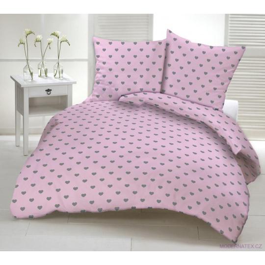 Tkanina bawełniana wzór Szare serca na różowym tle