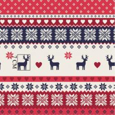 Tkanina bawełniana wzór świąteczny czerwony z jelonkiem