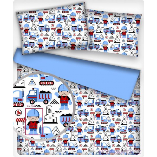 Tkanina bawełniana wzór Budowa niebieski