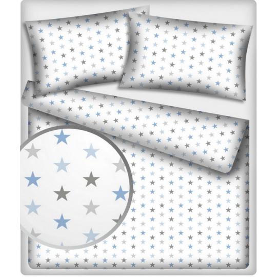 Tkanina bawełniana niebiesko szare gwiazdy na białym tle