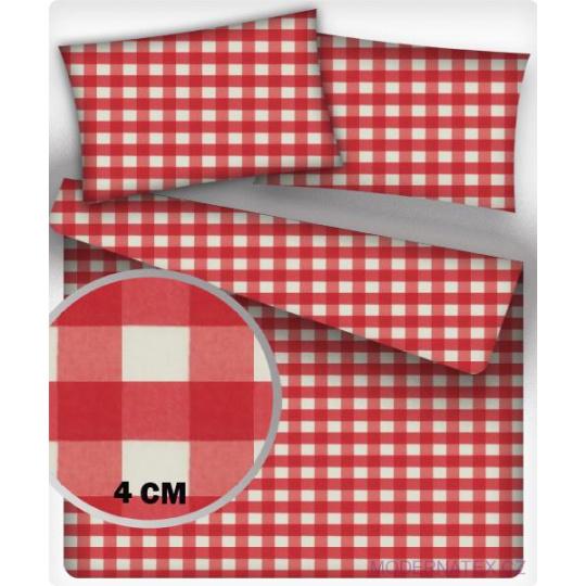Tkanina bawełniana wzór kostka czerwona 4 cm