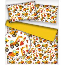 Tkanina bawełniana wzór Maszyny budowlane żółty