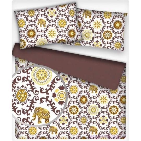 Tkanina bawełniana wzór orientalny musztardowo-brązowy na białym