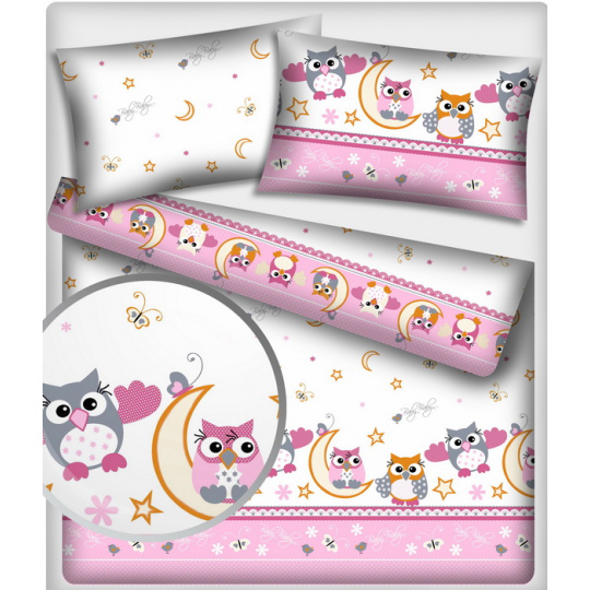 Tkanina bawełniana wzór różowe i szare sowy