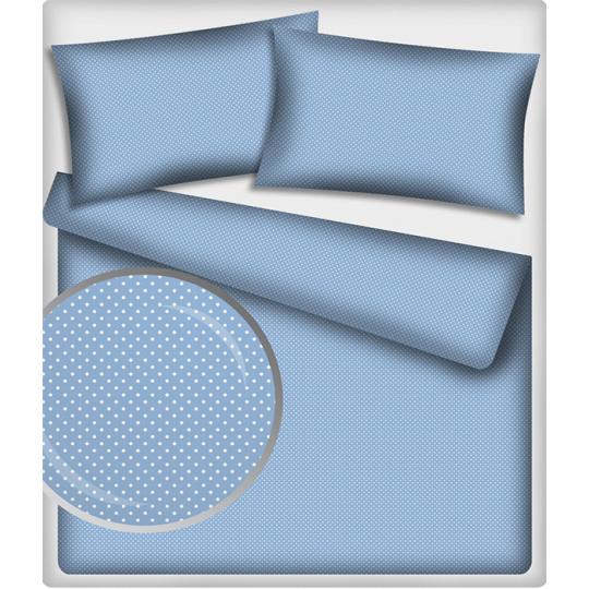 Tkanina bawełniana Białe groszki 4 mm na niebieskim tle
