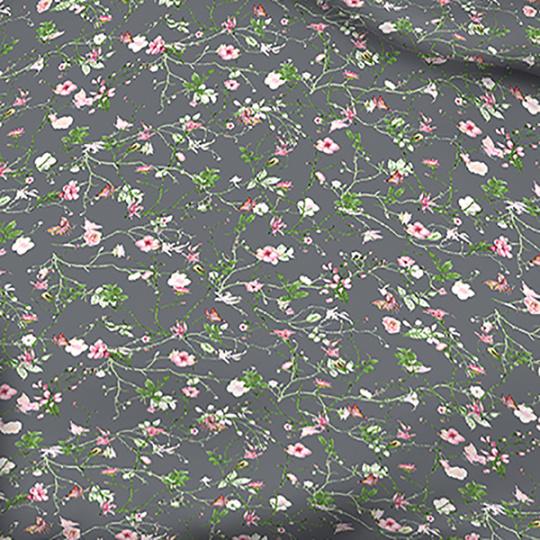 Tkanina bawełniana wzór pole kwiatowe na c.szarym tle