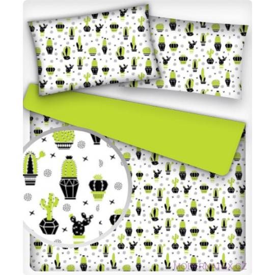 Tkanina bawełniana wzór Kaktusy zielonе na białym