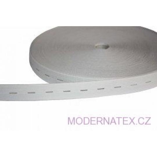 Guma guzikowa,  szer. 20 mm - Biała, na metry
