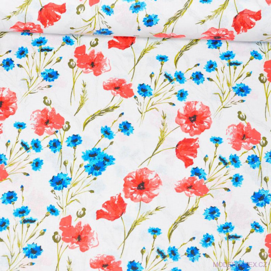 Tkanina bawełniana wzór czerwone maki i niebieskie goździki
