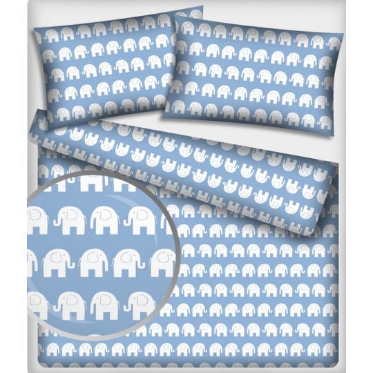 Tkanina bawełniana wzór białe słonie na niebieskim tle