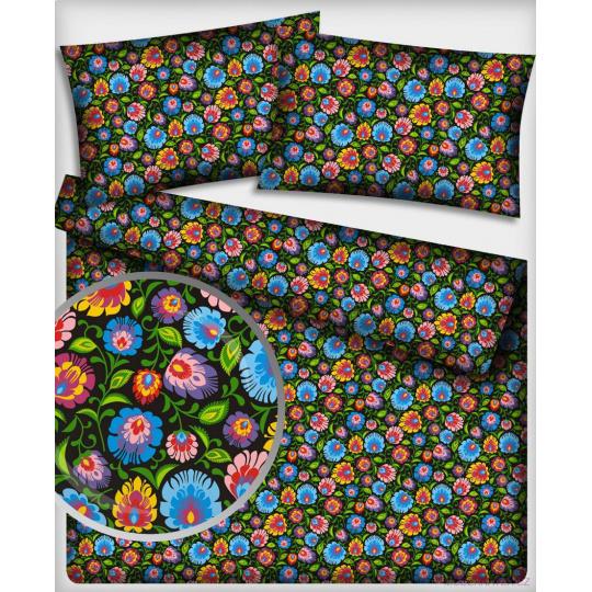 Tkanina bawełniana wzór bukiety kwiatowe kolorowe na czarnym
