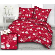 Tkanina bawełniana wzór srebrne płatki śniegu na czerwonym tle