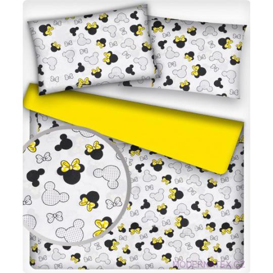 Tkanina bawełniana wzór Myszka Miki z żółtymi kokardkami na białym tle