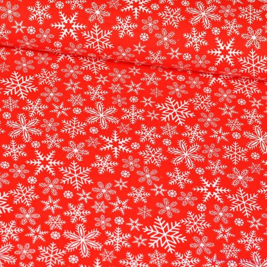 Tkanina bawełniana świąteczna wzór białe śnieżynki na czerwonym tle