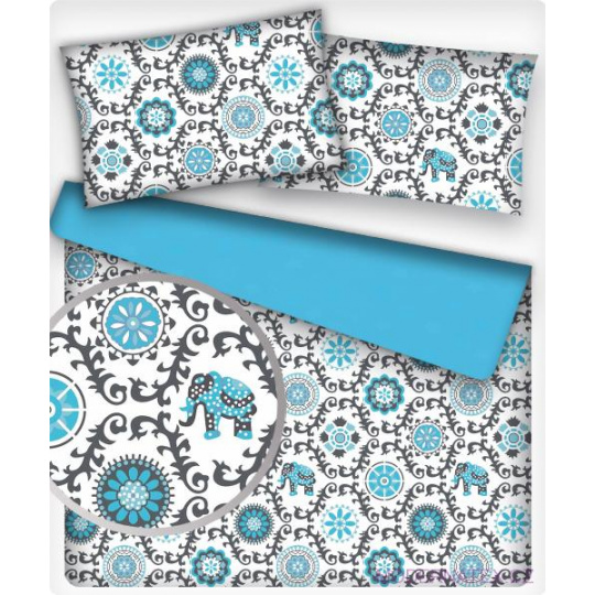 Tkanina bawełniana wzór orientalny niebiesko-szary na białym