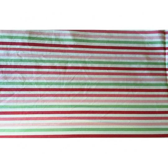 Tkanina bawełniana wzór  zielono-czerwono-różowo-białe paski