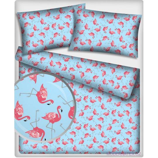 Tkanina bawełniana wzór różowy Flamingo na niebieskim tle
