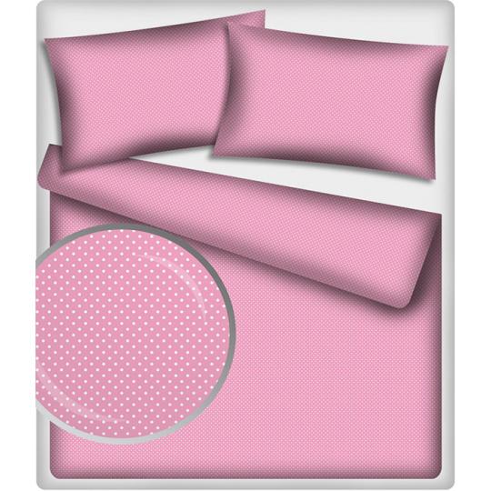 Tkanina bawełniana Białe groszki 4 mm na różowym tle