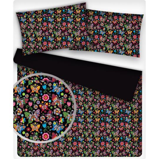 Tkanina bawełniana wzór letnie motyle na czarnym tle