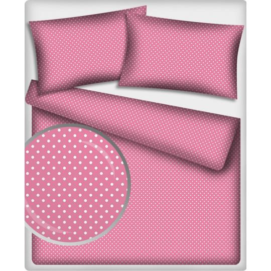 Tkanina bawełniana Białe groszki 7 mm na różowym tle