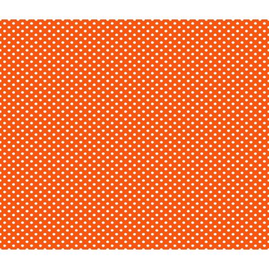 Tkanina bawełniana Białe groszki 2 mm na pomarańczowym tle