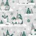 Świąteczna tkanina bawełniana wzór szaro-zielone Skrzaty