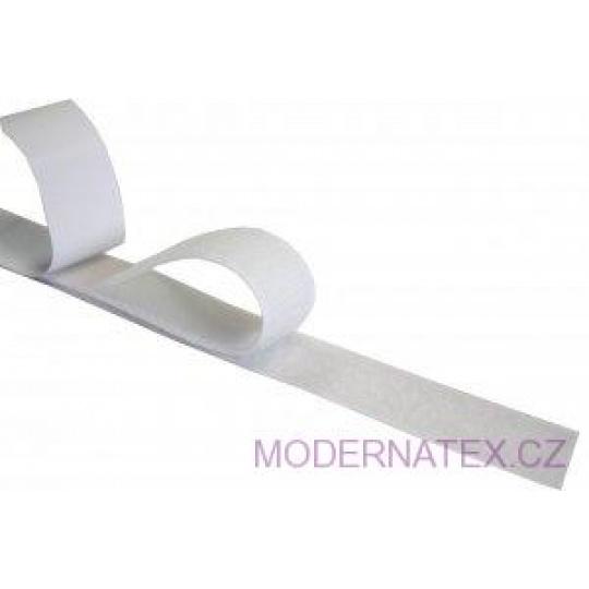 Taśma rzep z klejem (komplet) - Biała 25 mm