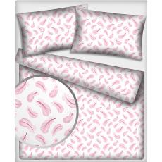 Tkanina bawełniana wzór różowe pióra na białym tle