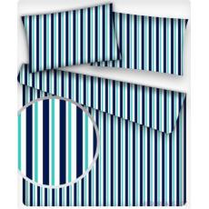 Tkanina bawełniana wzór granatowe-biało-niebieskie paski