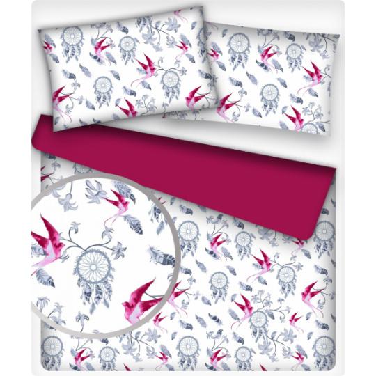 Tkanina bawełniana wzór amarantowy łowca marzeń na białym tle