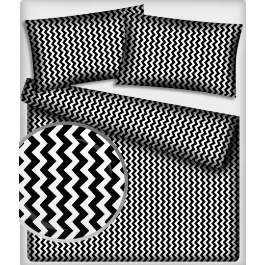 Tkanina bawełniana wzór czarno-białe zygzaki