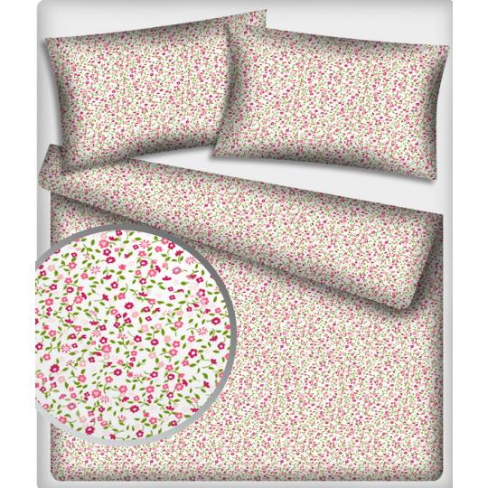 Tkanina bawełniana wzór malinowe i jasnoróżowe mini kwiatuszki na białym tle