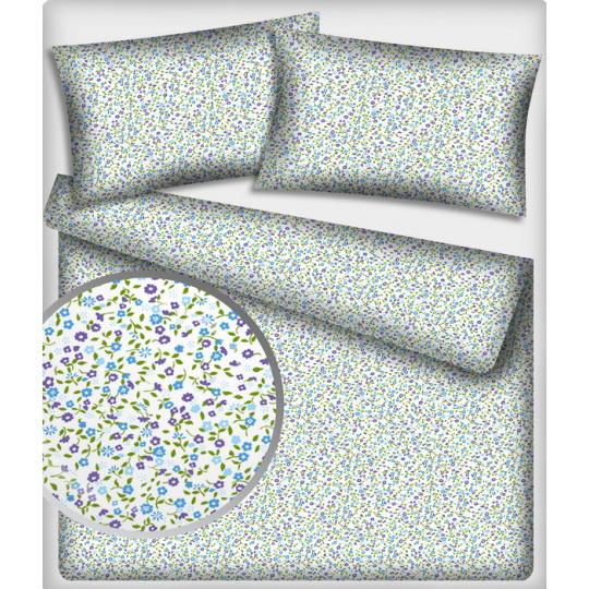 Tkanina bawełniana wzór Fioletowе Niebieskiе Mini kwiatuszki na białym tle