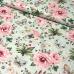 Tkanina bawełniana wzór duże różowe kwiaty na zielonym tle