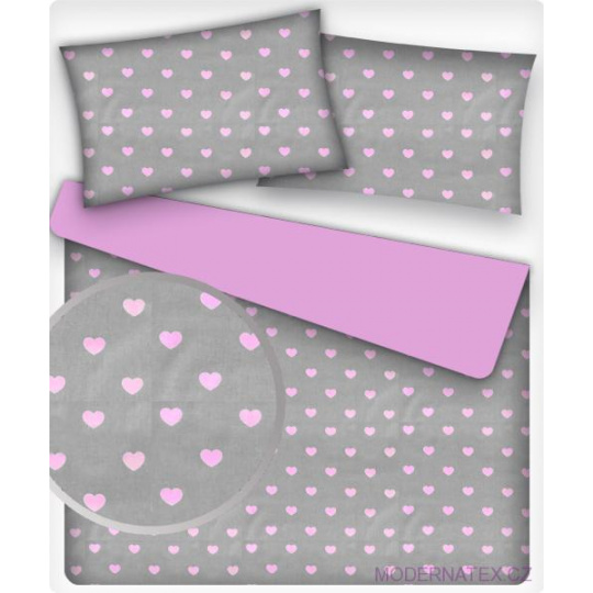 Tkanina bawełniana wzór różowe serca na szarym tle