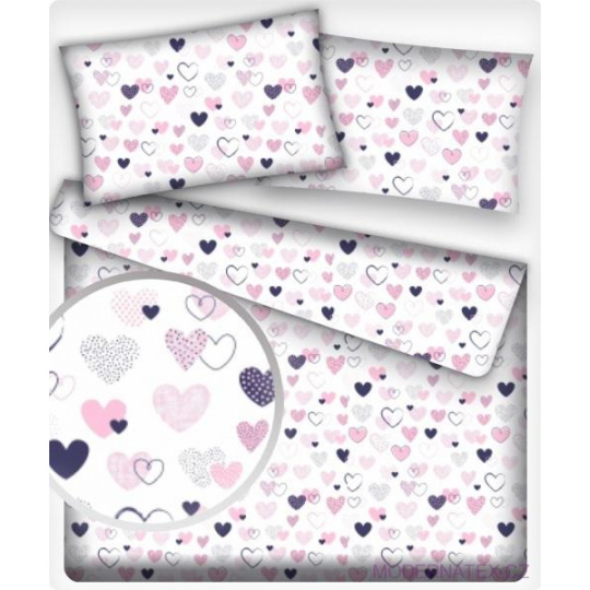 Tkanina bawełniana wzór różowe serca