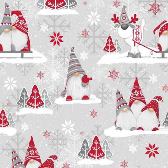 Świąteczna tkanina bawełniana wzór szaro-czerwone Skrzaty