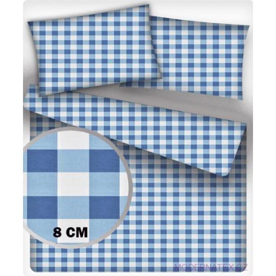 Tkanina bawełniana wzór kostka niebieska 8 cm