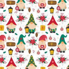 Świąteczna tkanina bawełniana wzór Krasnale z latarniami na białym tle