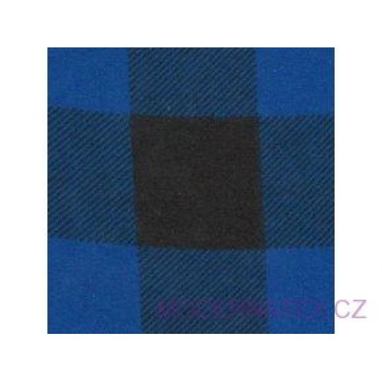 Tkanina flanela czarno-niebieska 4x4 kratka
