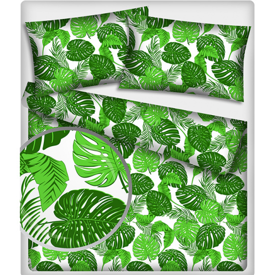Tkanina bawełniana wzór zielone Tropikalne Liście