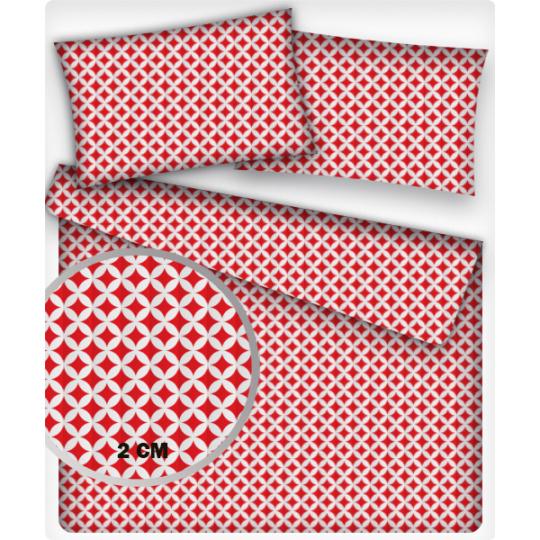 Tkanina bawełniana wzór mini Maroko czerwone 2 cm