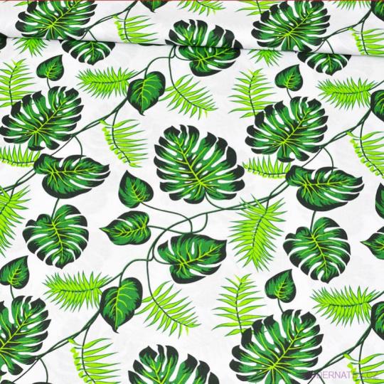 Tkanina bawełniana wzór zielone Tropikalne Liście na białym