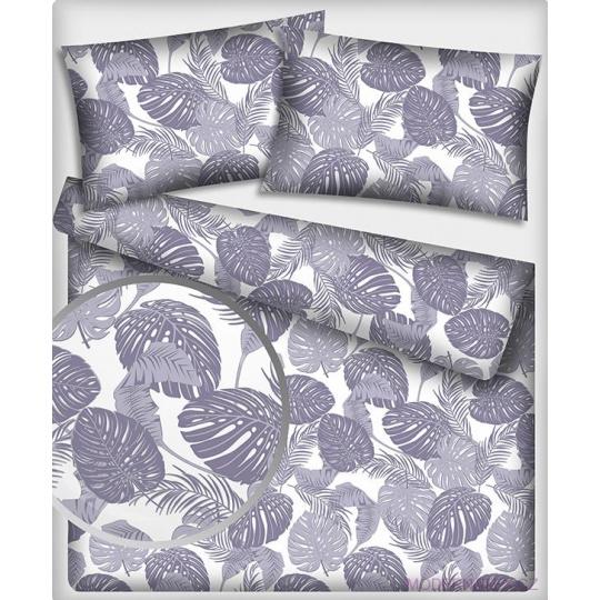 Tkanina bawełniana wzór szare liście palmowe