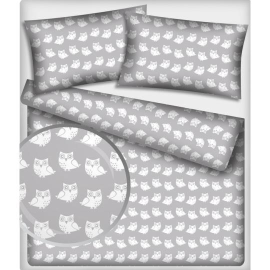 Tkanina bawełniana wzór białe sowy na szarym tle